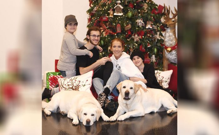 photo of Celine Dion with her kids and dogs in front of a Christmas tree