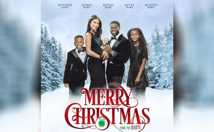 holiday card poster of Kevin Hart and his family in a winter scene