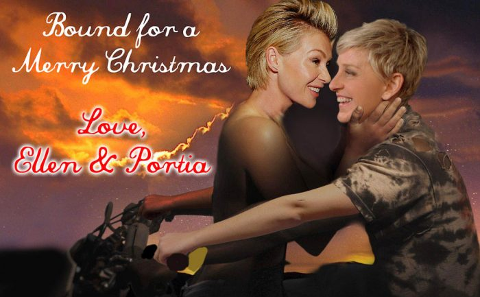 Photoshopped image of Ellen DeGeneres and Portia de Rossi on a motorcycle