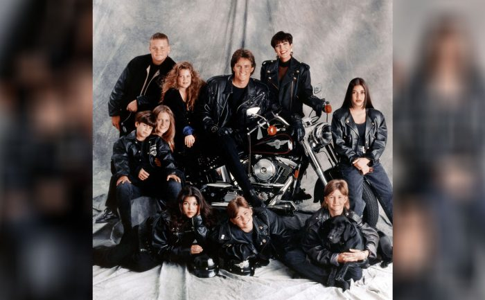 Family portrait of the Jenner-Kardashian family in motorcycle garb from the 1990s