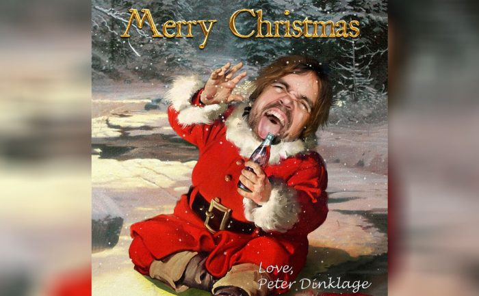 holiday card of Peter Dinklage in the style of a vintage Coca Cola advert