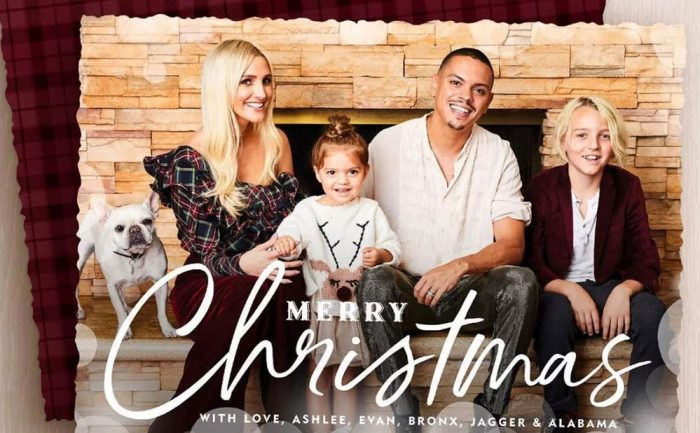 holiday card of Ashlee Simpson and her husband, Evan Ross, and their kids