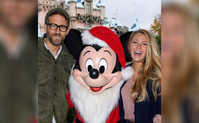 Ryan Reynolds and Blake Lively with Mickey Mouse at Disney land