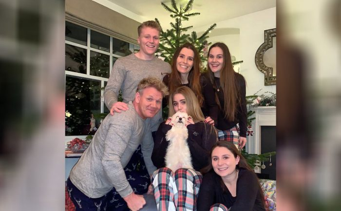 Gordon Ramsey and his family in pajamas