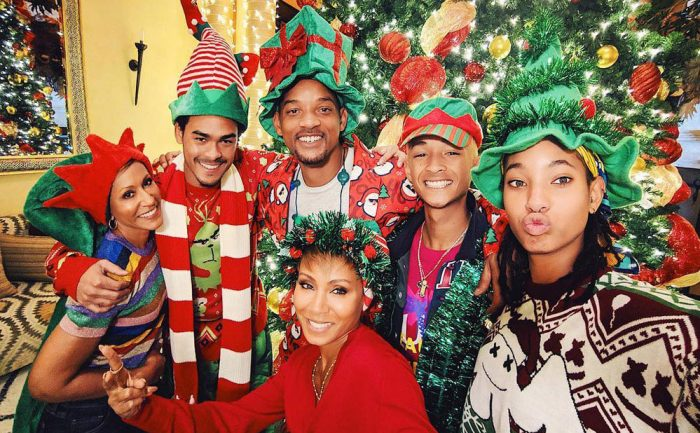 Will Smith and his family in full Christmas garb