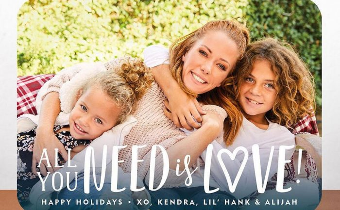 holiday card of Kendra Wilkinson with her kids