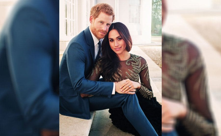 Meghan Markle wearing her engagement ring and Prince Harry