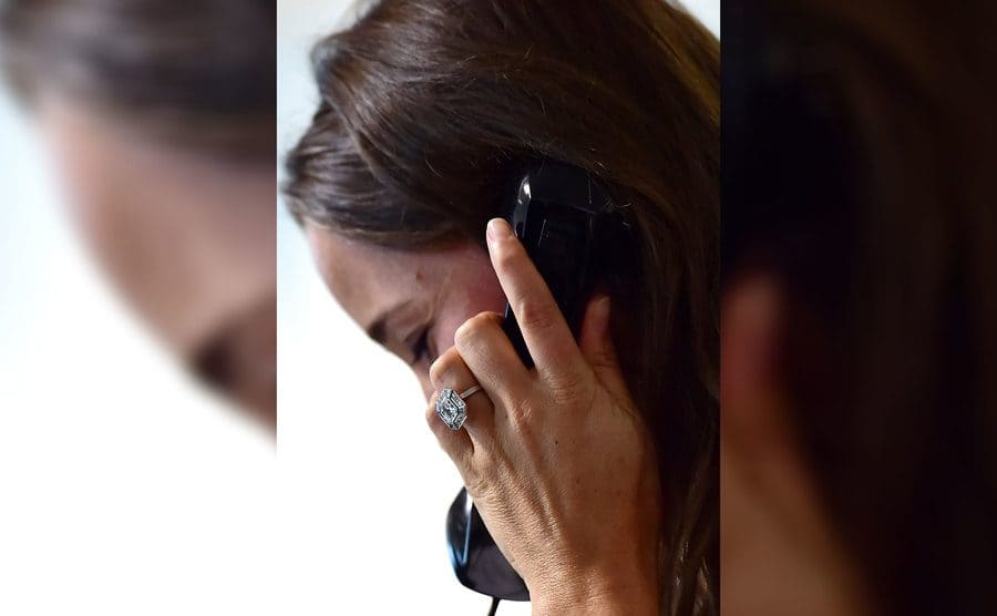 Pippa Middleton on the phone wearing her ring
