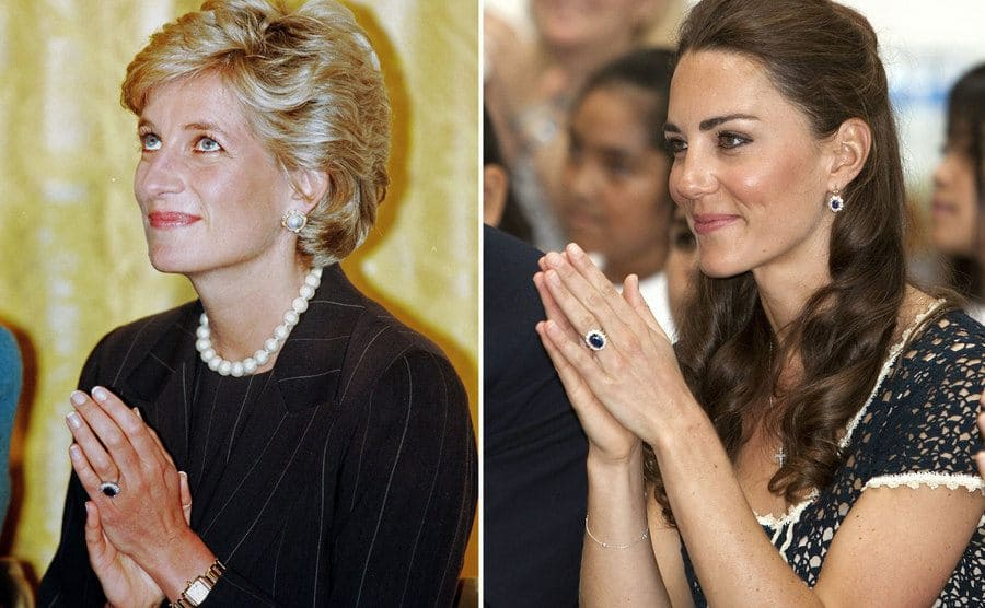 Kate Middleton wearing her ring next to a photograph of Princess Diana wearing the same one
