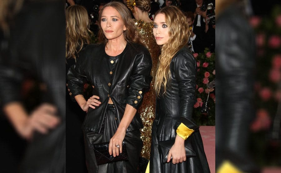 Mary-Kate Olsen wearing her engagement ring with Ashley standing next to her