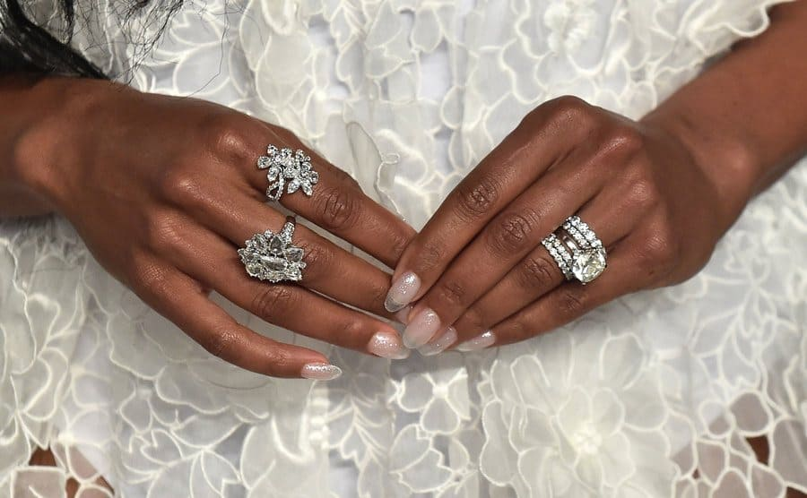 Gabrielle Union's hands full of rings