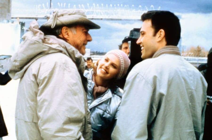 DECEPTION (2000) John Frankenheimer Director on Set with Ben Affleck, Charlize Theron