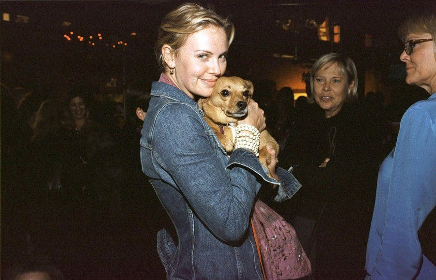 Charlize Theron with her mother's dog, Denver.
