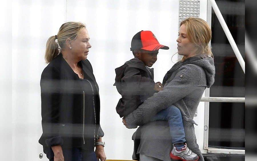 Charlize Theron with son Jackson Theron and her mother, Gerda