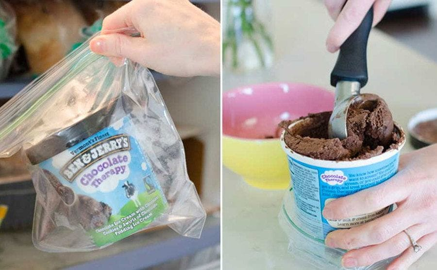 A tub of ice cream in a zip-top bag