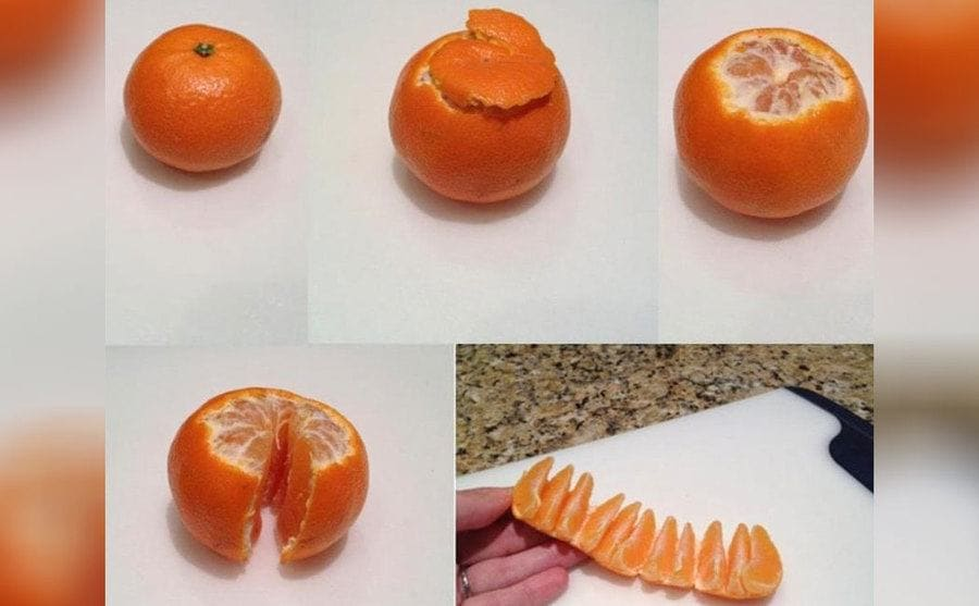 A clementine being peeled correctly
