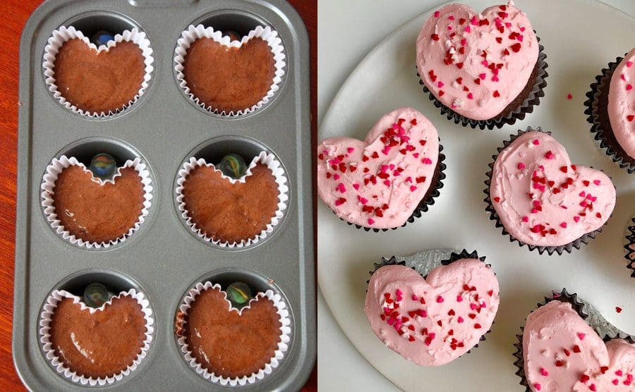 Marbles being used to make heart-shaped cakes