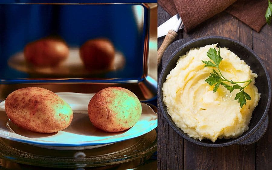 Two potatoes ready to cook in the microwave. / A photograph of mashed potatoes