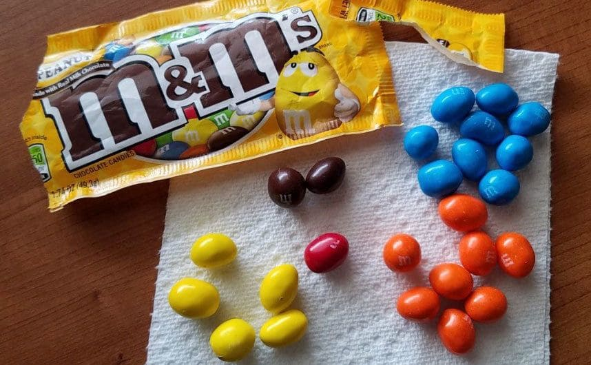 M&Ms placed on a napkin