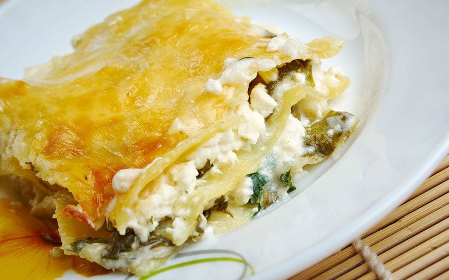 A lasagna prepared with cottage cheese