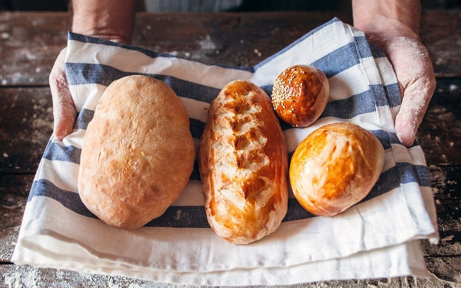 Homemade bread in a towel