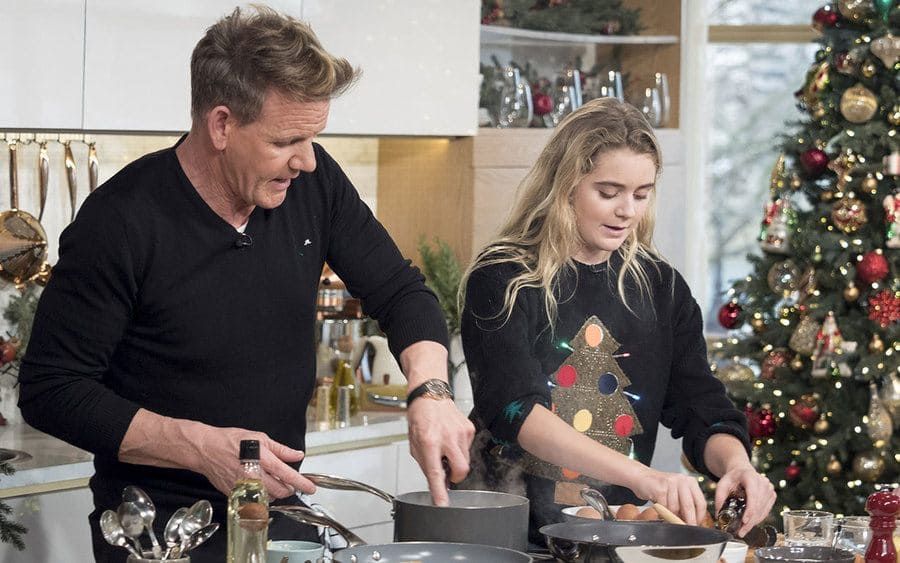 Gordon and Matilda Ramsay on 'This Morning' making a Christmas breakfast.