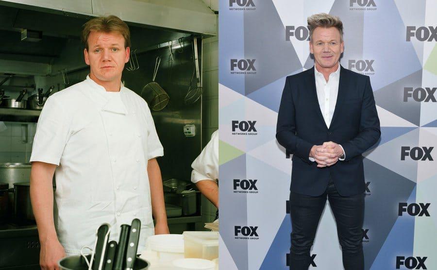 Gordon Ramsay in 1998 wearing a chef jacket. / Gordon Ramsay in 2018