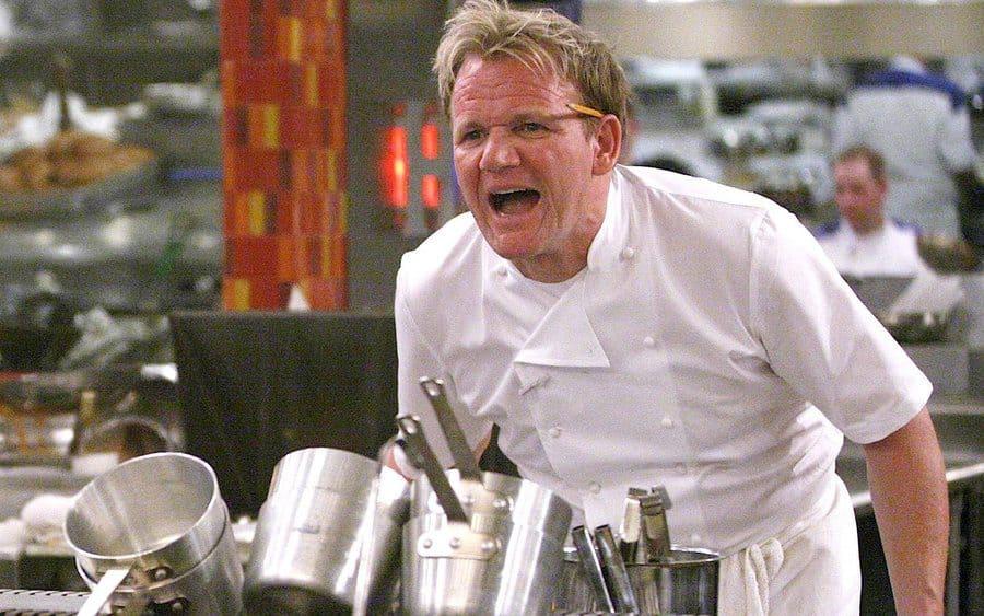 Gordon Ramsay yelling in the kitchen.