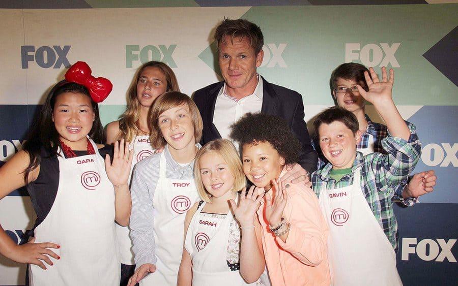 Gordon Ramsay with the cast of Masterchef Junior