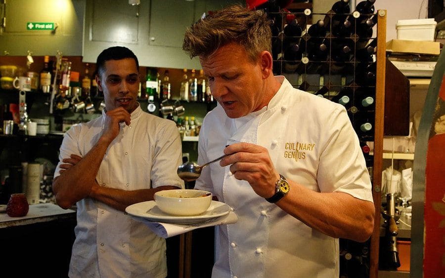 Gordon Ramsay trying food from a bowl