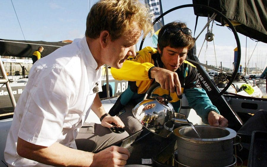 Gordon Ramsay and Lucas Brun on a boat
