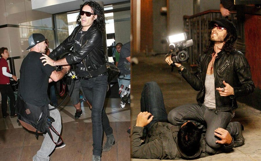 Russell Brand pushing paparazzi out of the way to make room for Katy Perry. / Russell Brand holding the photographer's camera while he has him pinned down using his knee.