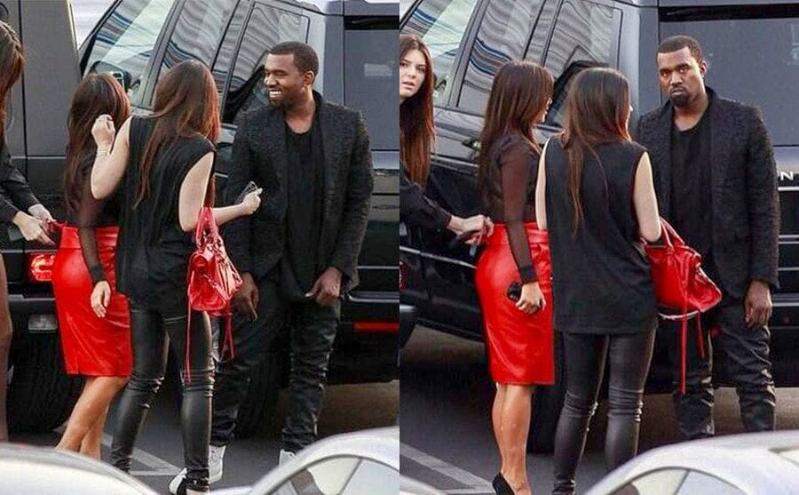 Kanye West smiling and talking to Kim and two sisters. / Kanye West noticing paparazzi and his face looking serious.