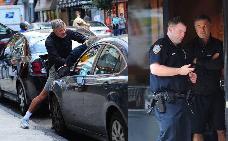 Alec Baldwin pinning the photographer on the hood of a car. / Alec Baldwin talking to a police officer.
