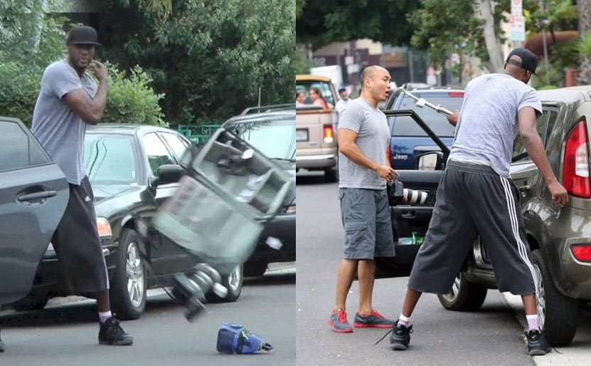 Lamar Odom throwing the paparazzi's belongings on the ground in the middle of the road. / Lamar Odom holding a long metal bar looking ready to hit the photographer's car.