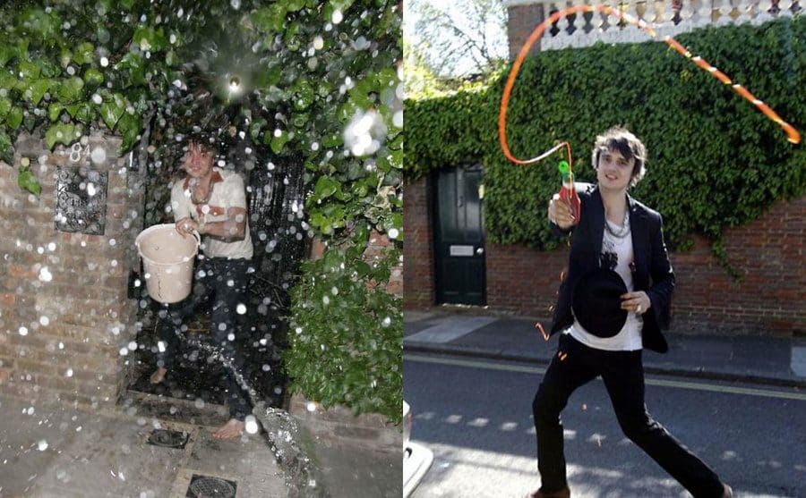 Pete Doherty (former boyfriend of Kate Moss) throwing a bucket of water at paparazzi. / Pete Doherty throwing ketchup at paparazzi.