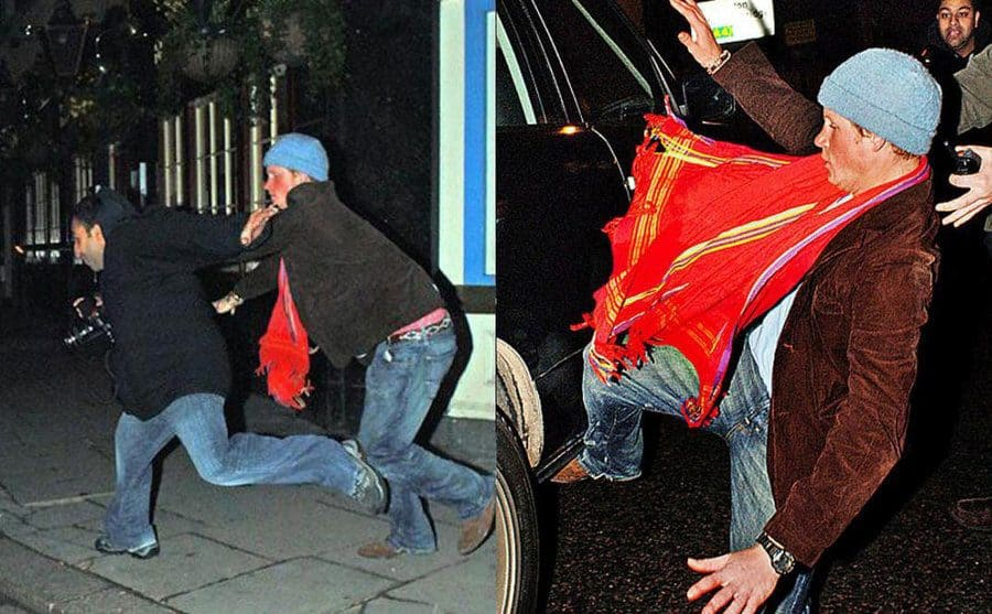 Prince Harry leaving a nightclub and attacking a photographer. / Prince Harry mid-fall after he tripped trying to attack a photographer.