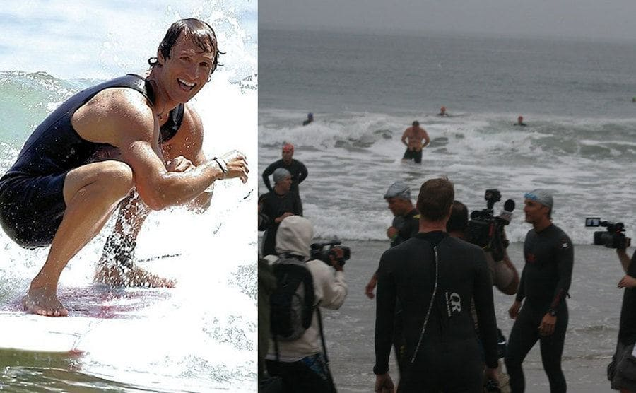 Matthew McConaughey on his surfboard riding out a wave. / Locals confronting paparazzi on the beach.