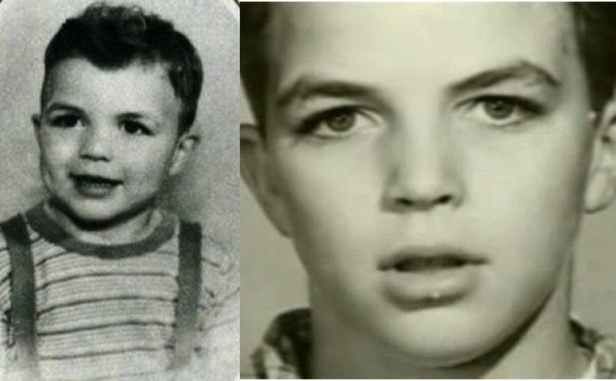 Two photographs of Tom Selleck as a young boy