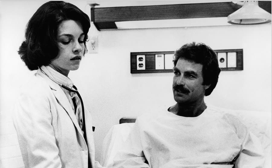 Genevieve Bujold and Tom Selleck in Coma 1977.