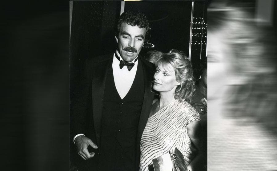 Tom Selleck and Jacqueline Ray at the Emmy Awards in 1982.
