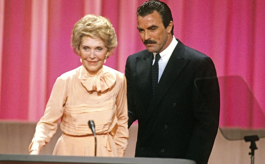 Nancy Reagan and Tom Selleck in August 1988.