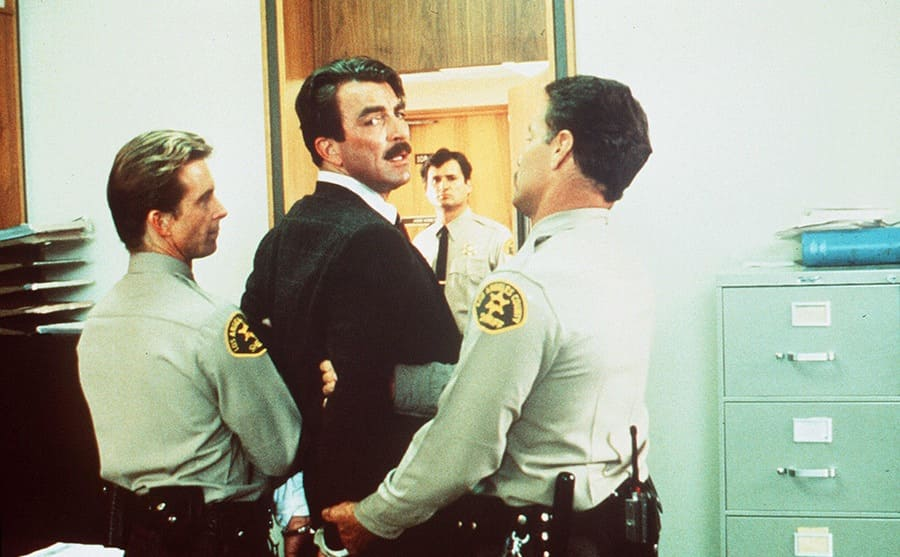 Tom Selleck being arrested in An Innocent Man 1989