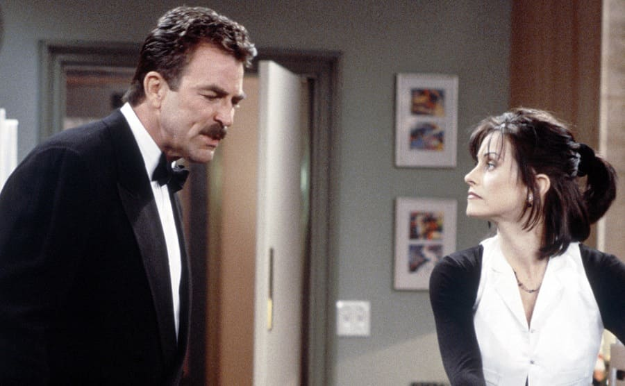 Tom Selleck and Courteney Cox on the TV show Friends