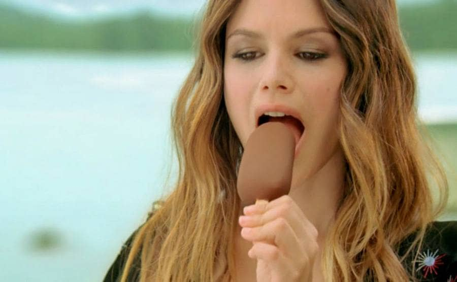 Rachel Bilson eating a Magnum ice cream bar