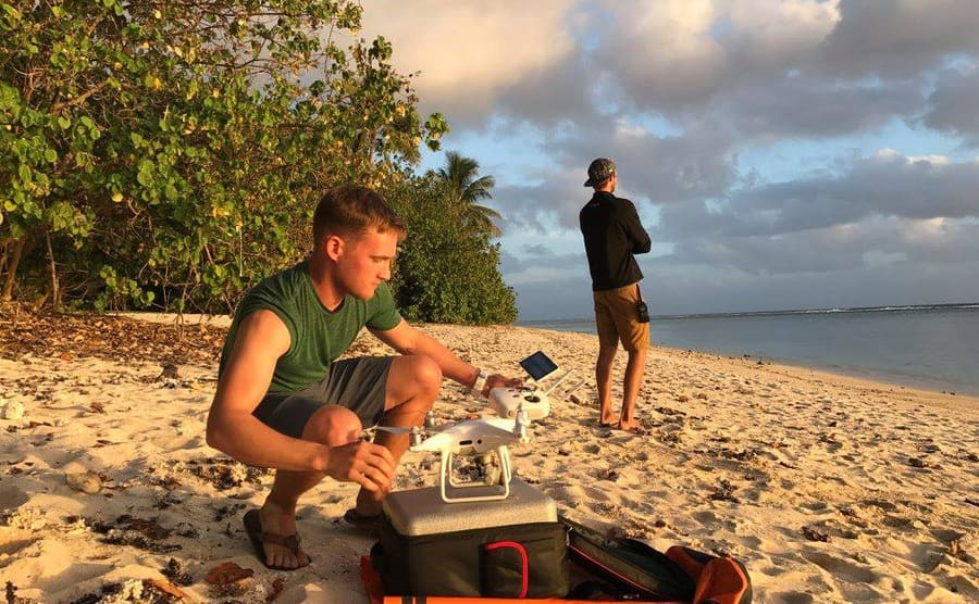 Nan's crew setting up the drone onshore