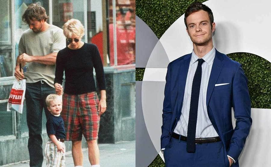 Dennis Quaid and Meg Ryan walking in the streets of London with their son Jack / Jack Quaid posoing on the red carbet in front of a large GQ sign