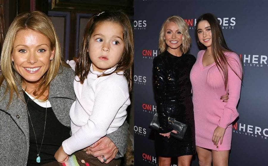 Kelly Ripa holding her daughter Lola at a young age / Kelly Ripa and Lola Consuelos on the red carpet together
