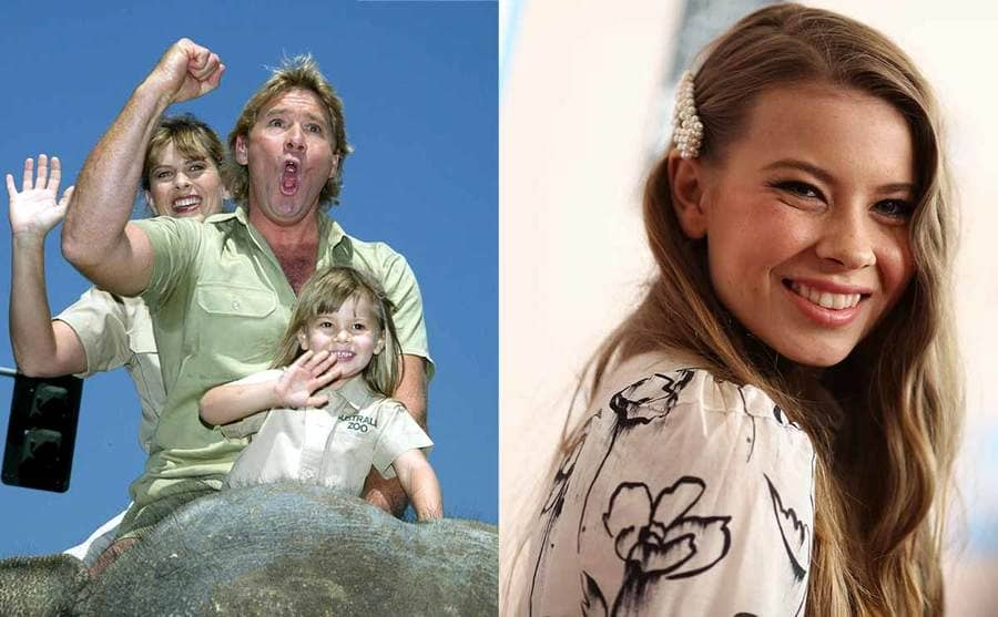 Terri, Steve, and Bindi Irwin riding an elefant together when she was a young girl / Bindi Irwin on the red carpet in 2019