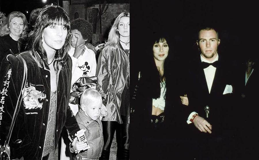 Cher with her son Elijah Allman in 1980 / Cher with Elijah Allman on the red carpet in 2004